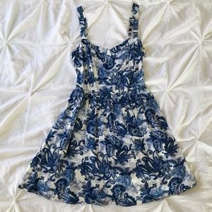 Paisley White and Blue Dress